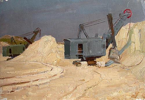 In the Sand Pit industrial landscape - oil painting
