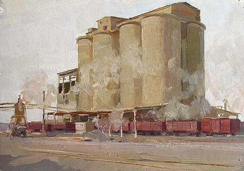 Cement Repository industrial landscape - oil painting