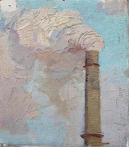 Chimney industrial landscape - oil painting