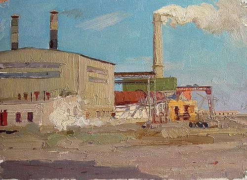 На Ульяновском цементном индустриальный пейзаж - масло живопись