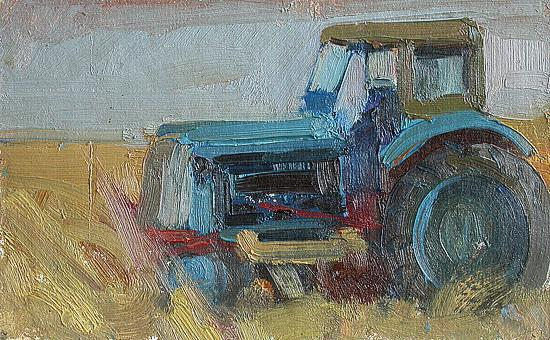 Tractor cars - oil painting