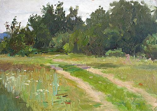 Road to the Wood summer landscape - oil painting