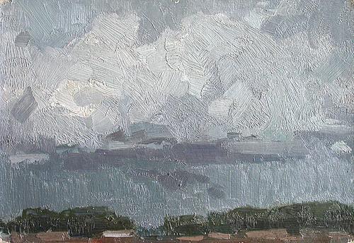 Rain summer landscape - oil painting