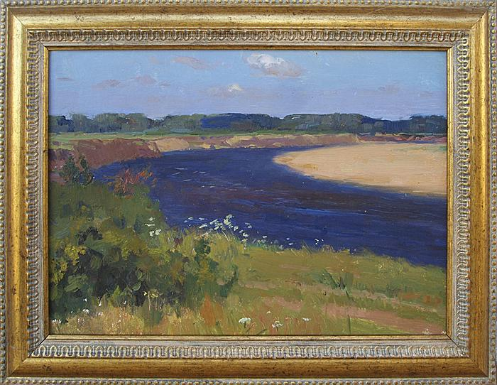 The Sura River summer landscape - oil painting