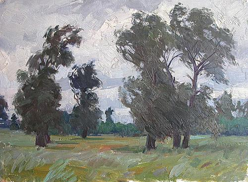 Wind summer landscape - oil painting