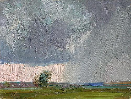 Raining summer landscape - oil painting