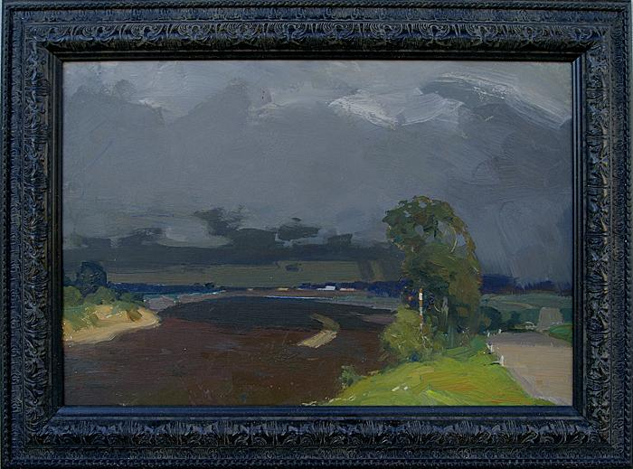 Thunderstorm over the Sura River. Sketch summer landscape - oil painting