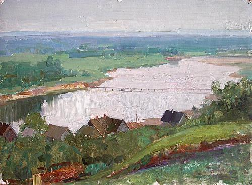 Over the Sura River rural landscape - oil painting