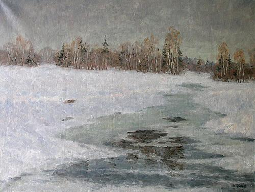 In Early Spring spring landscape - oil painting