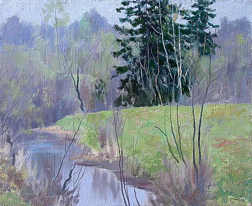 May Day spring landscape - oil painting