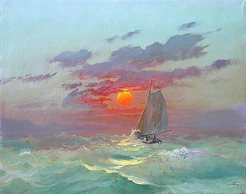Закат на море морской пейзаж - масло живопись