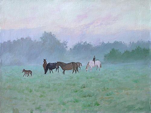 Утро животные - масло живопись