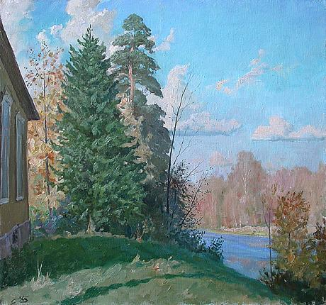 Bright Day rural landscape - oil painting