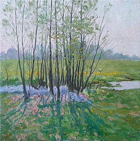 Warm May spring landscape - oil painting