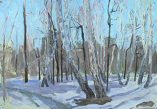 March spring landscape - oil painting