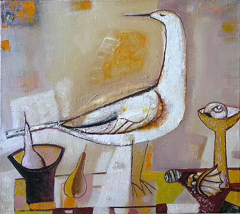 Bird naive & folk art - oil painting