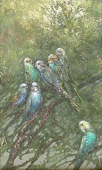 Parrots animals - oil painting