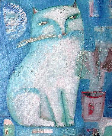 Moon Cat naive & folk art - oil painting