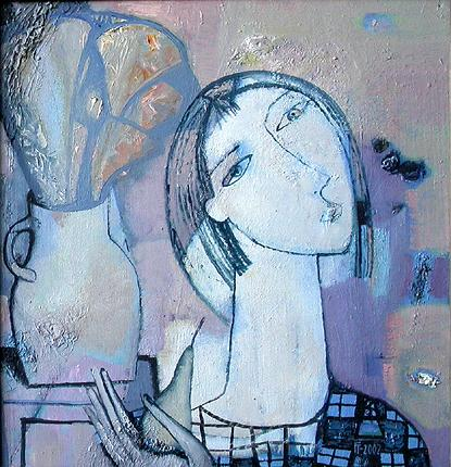 Girl with a Pear figurative art - oil painting