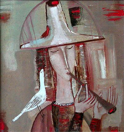Bird Catcher figurative art - oil painting