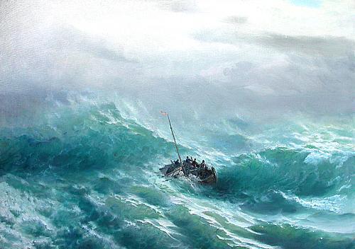 Среди волн морской пейзаж - масло живопись