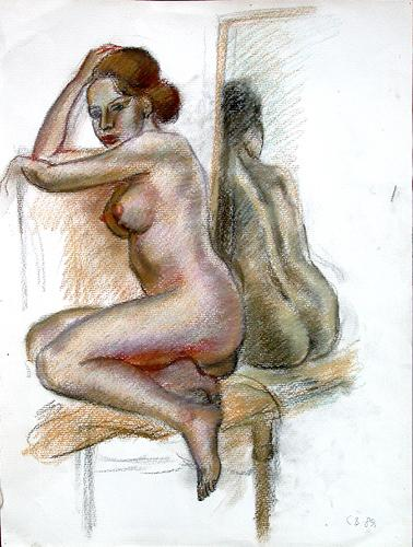 Naked nude art - pastel painting