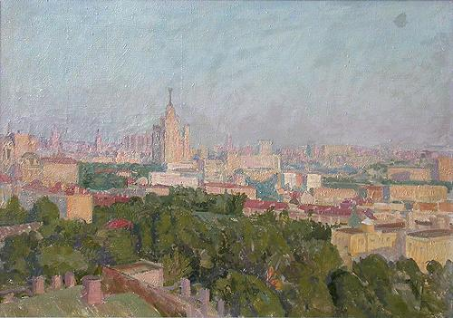 Moscow Morning cityscape - oil painting