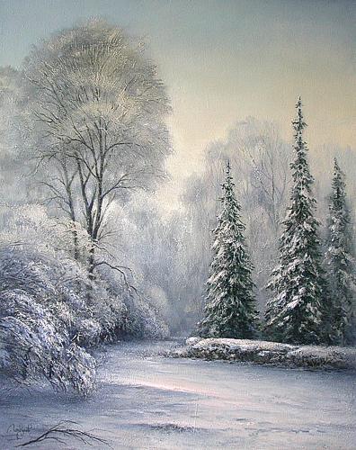 Зимний скверик зимний пейзаж - масло живопись
