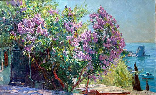 Gurzuf. Lilac in Blossom seascape - oil painting
