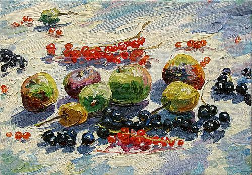 Apples and Currants still life - oil painting