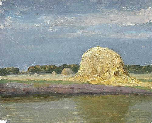 Haystack summer landscape - oil painting