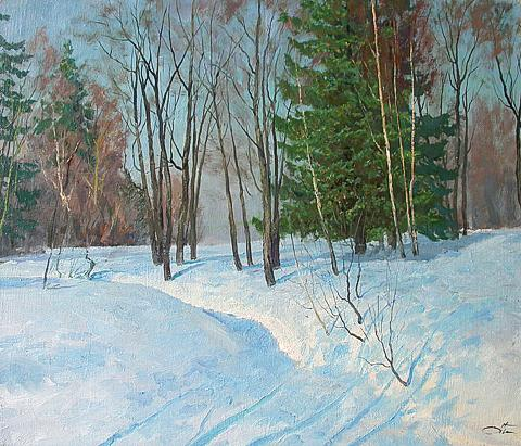 Blue Day winter landscape - oil painting