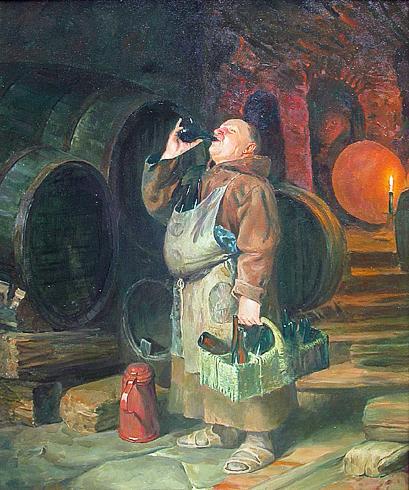 Monk genre scene - oil painting