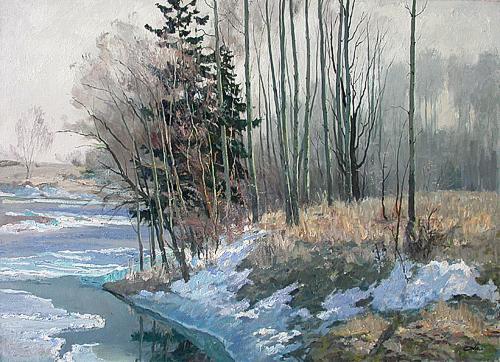 April spring landscape - oil painting