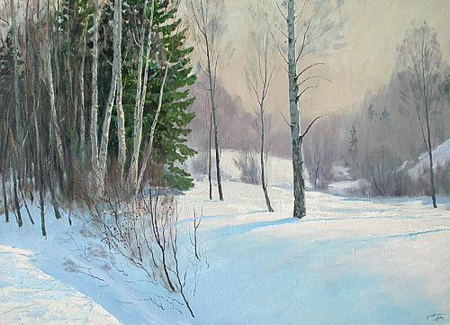 Winter Day winter landscape - oil painting