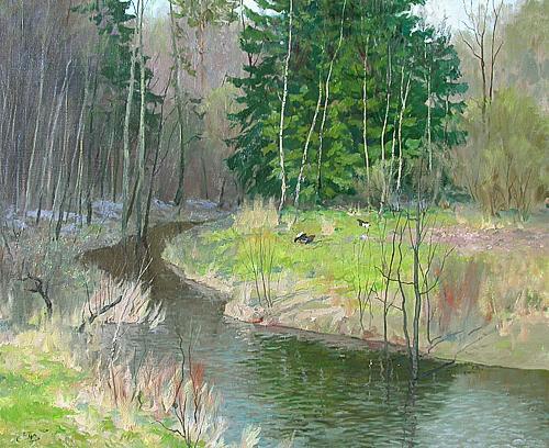Весна весенний пейзаж - масло живопись