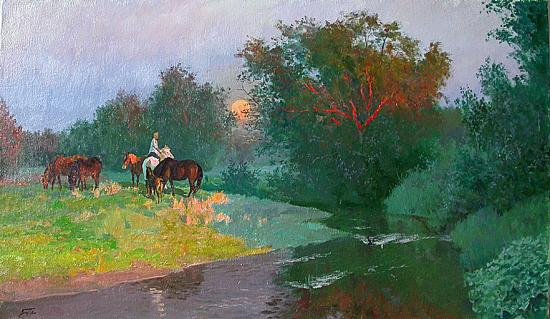 Late Evening summer landscape - oil painting