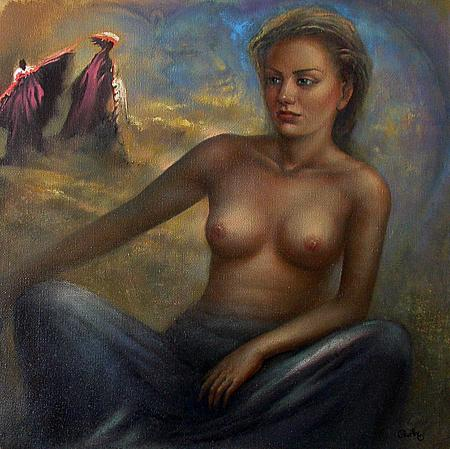 Trilogy 3. Wind of Change nude art - oil painting