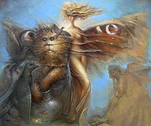 Margaret and Hippopotamus Cat surrealist art - oil painting