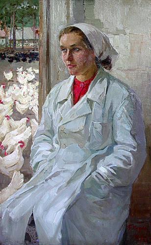 Портрет птичницы портрет или фигура - масло живопись
