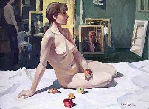 Artist and Model nude art - oil painting