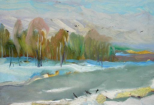 Soggy Snow autumn landscape - oil painting