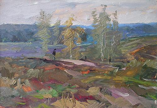 Lonely Wayfarer autumn landscape - oil painting