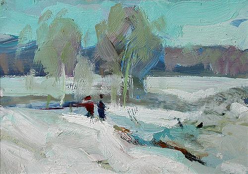 Last Snow winter landscape - oil painting