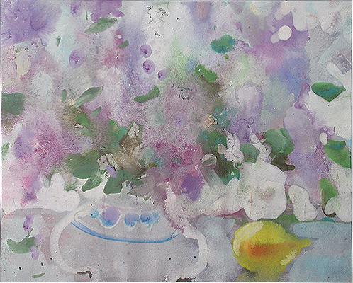 Запах сирени цветы - акварель, тушь живопись