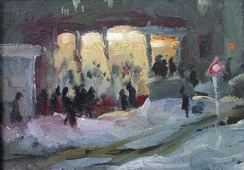 Beer Bar in Soldatskaya Street cityscape - oil painting