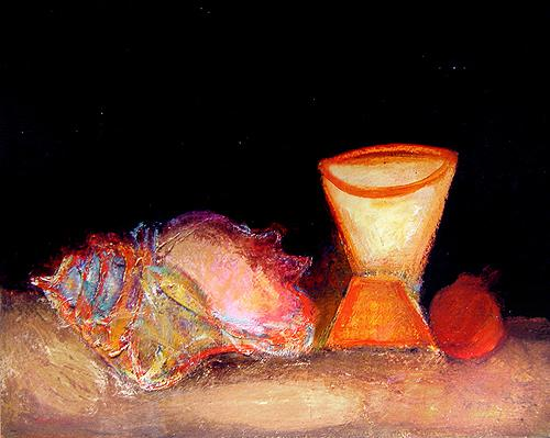 Still Life with a Seashell and a Cup still life - acrylic painting
