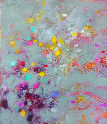 Flowers abstract art - oil, acrylic painting