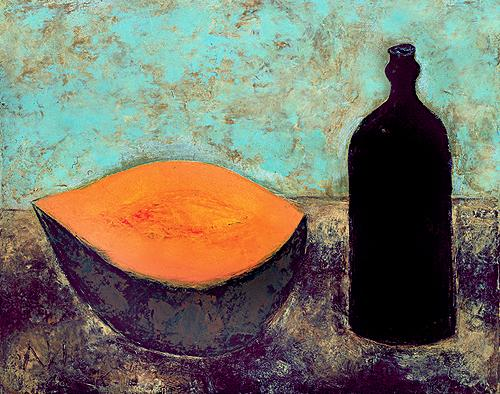 Black Bottle still life - oil painting