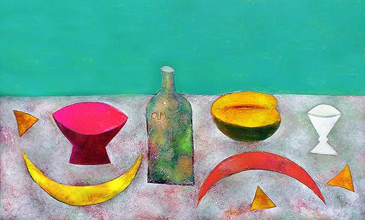 Still Life with a Bottle still life - oil painting